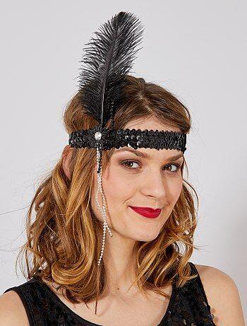 Bandeau Charleston plume et perles - Kiabi
