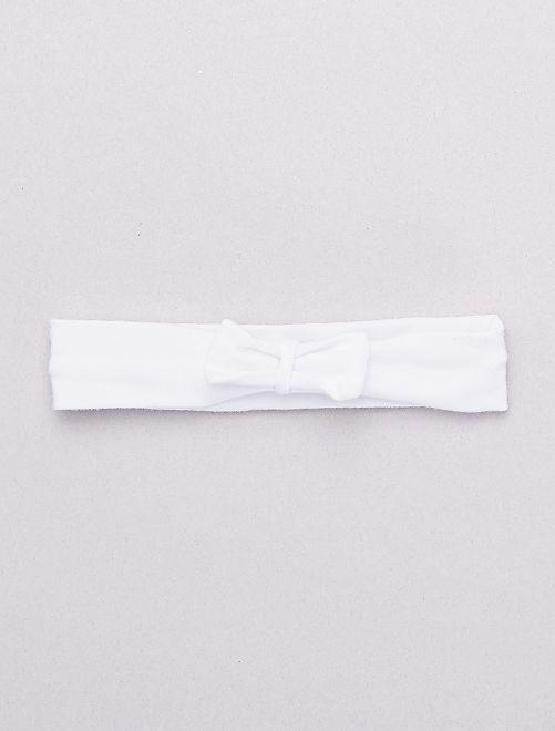 Bandeau noeud fantaisie                                                                                         blanc Bébé fille