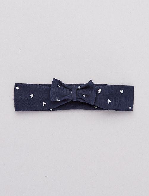 Bandeau noeud fantaisie                                                                                         bleu marine cœurs Bébé fille