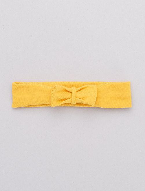 Bandeau noeud fantaisie                                                                                         jaune moutarde Bébé fille