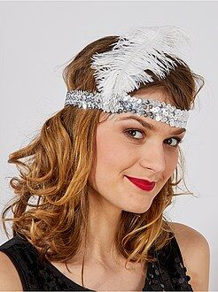 Charleston 20's - Bandeau sequin avec plume 'Charleston'