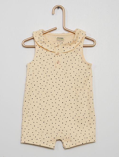 Barboteuse à pois et motif 'girafe' doré                     beige