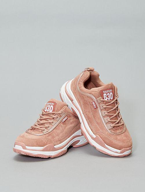 Baskets à lacets en suédine                             rose