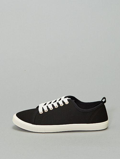 Baskets à lacets en toile                             noir