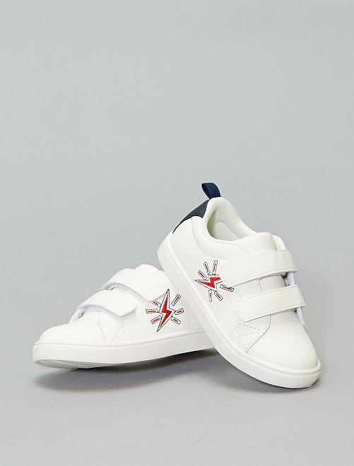 Baskets à scratch brodées 'éclair'                                         blanc cassé Chaussures
