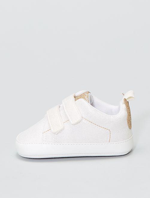 Baskets à scratchs pailletées et dorées                             blanc