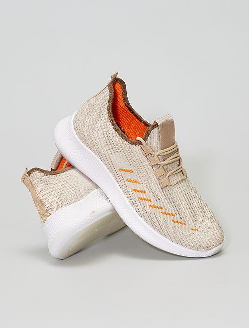 Baskets basses en textile                             beige