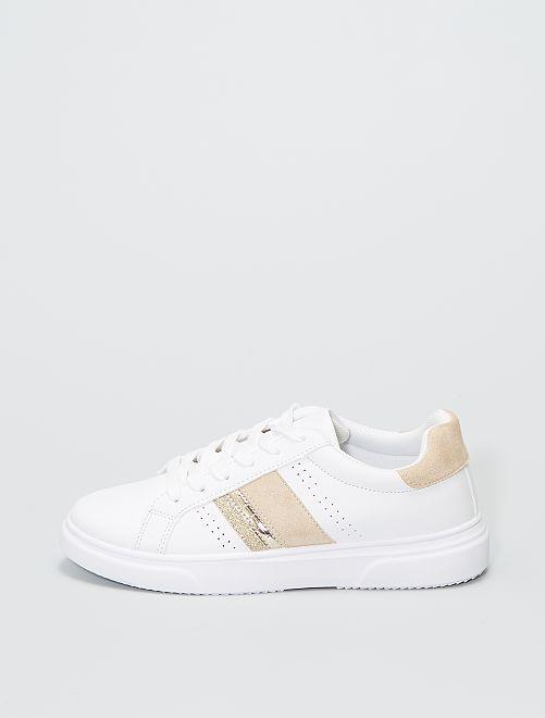 Baskets détails dorés                             blanc/doré