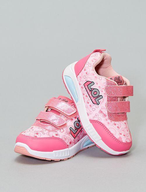 Baskets lumineuses à scratch et paillettes LOL                             rose Chaussures