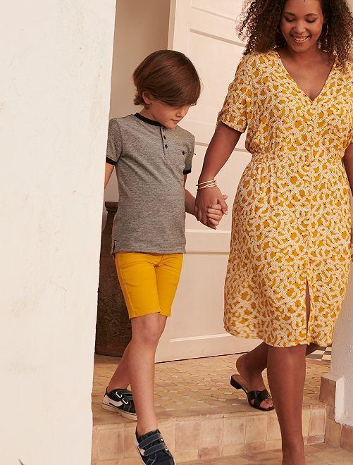 Bermuda avec ceinture en corde                             jaune bronze