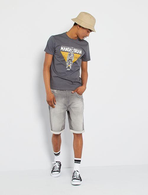 Bermuda jean éco-conçu                                                                 gris clair