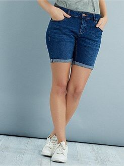 Denim - Bermuda mi-long en denim stretch