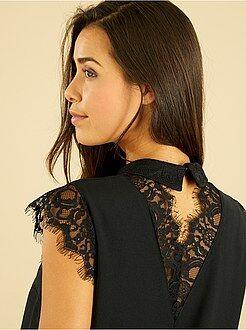 Top, blouse - Blouse col claudine et dentelle