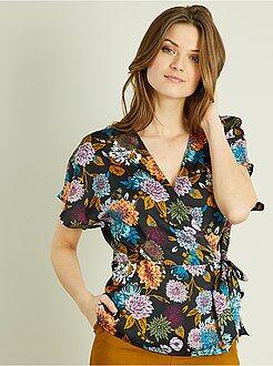 Top, blouse - Blouse fleurie satinée - Kiabi