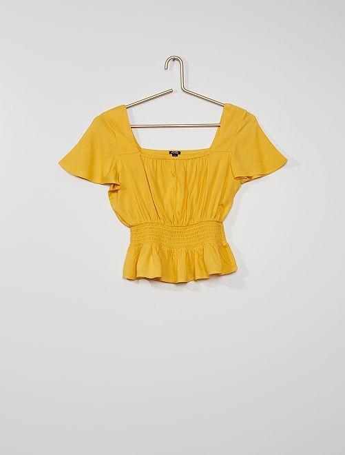 Blouse smockée                                                     jaune doré