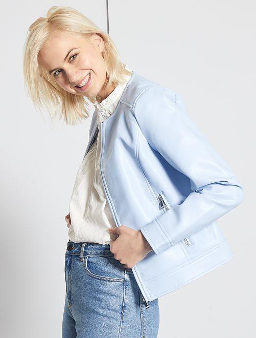 Blouson zippé en simili                                                                                         bleu clair