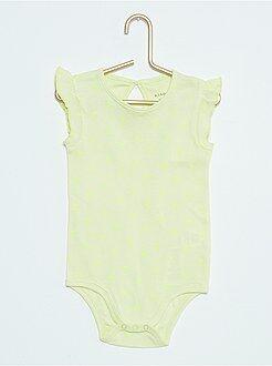 Sous-vêtement - Body imprimé 'pois fluo' et mancherons volantés