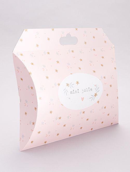 Boîte cadeau en papier recyclé                                                     rose fleuri