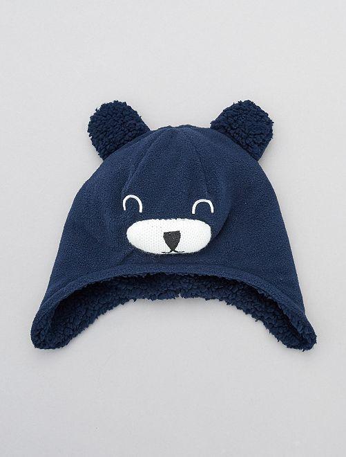 Bonnet 'ourson' en polaire                             bleu marine