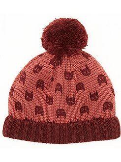 Bonnet tricoté doublé en polaire