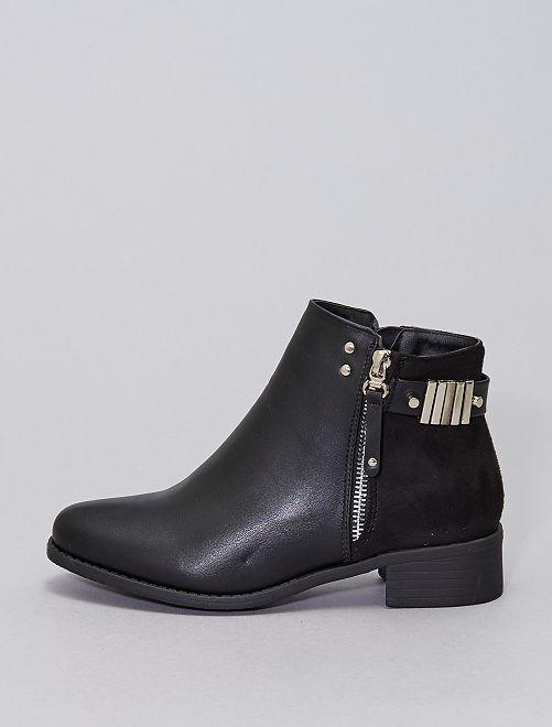 Boots bi-matières                             noir