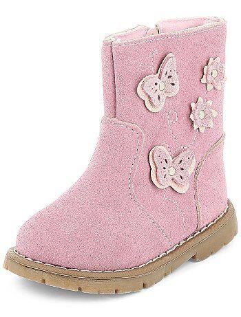 Boots en cuir avec 'Papillons' - Kiabi