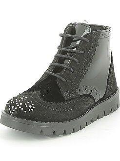 Chaussures fille - Boots en cuir style richelieu