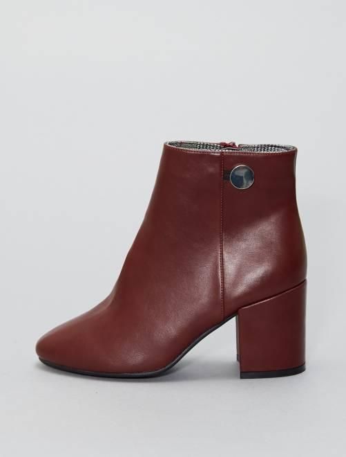 Boots en simili à talons carrés                             bordeaux Femme