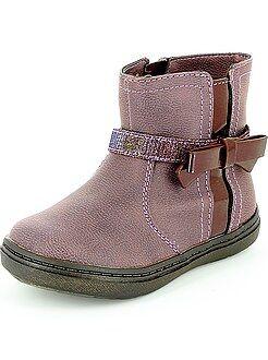 Chaussures fille - Boots en simili avec nœud fantaisie