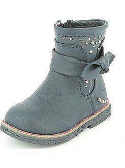 Chaussures fille - Boots en simili toucher peau de pêche