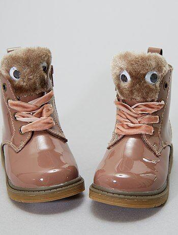Boots en simili vernis fourrées - Kiabi