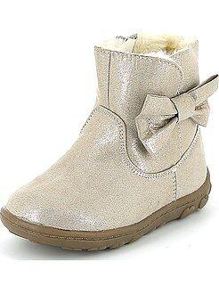 Chaussures fille - Boots en suédine avec nœud