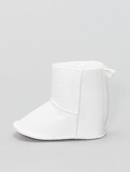 Boots en tissu pailleté                             blanc Bébé fille