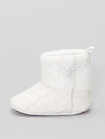 Boots en tricot et polaire - Kiabi