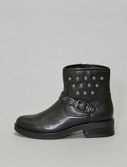 Boots motardes cloutés                             noir