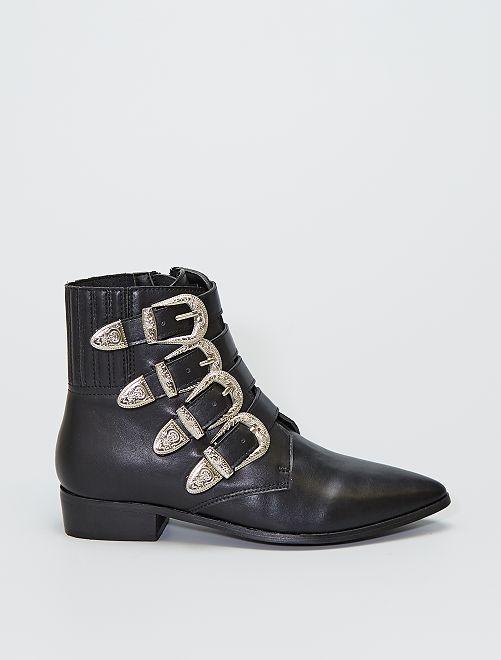 Boots pointues multi-boucles                             noir