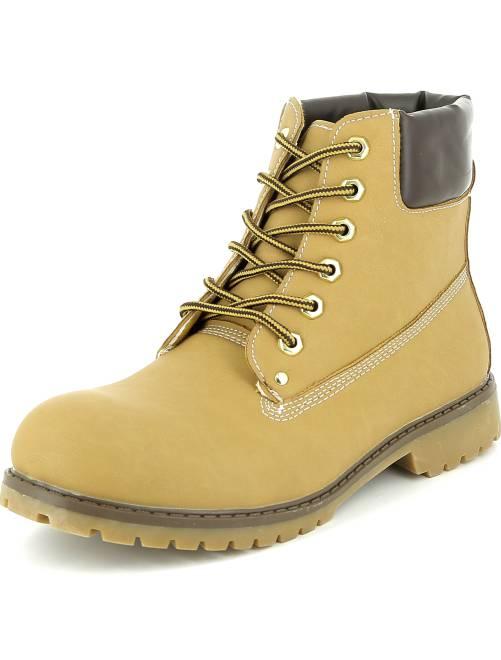 Bottines type chaussures de montagne camel Homme