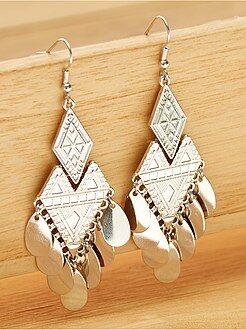 Boucle d'oreille pendantes en métal - Kiabi