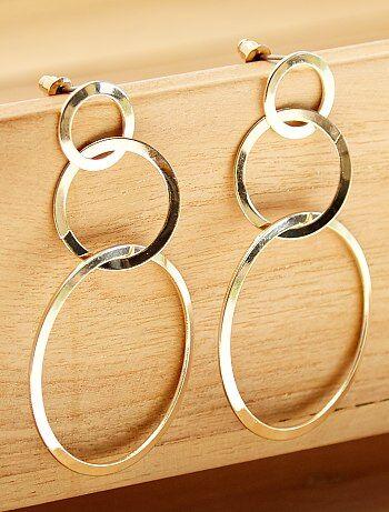 Boucles d'oreilles pendantes 3 cercles - Kiabi