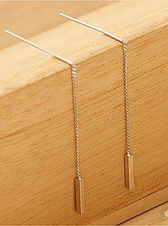 Bijoux - Boucles d'oreilles pendantes baguettes métalliq