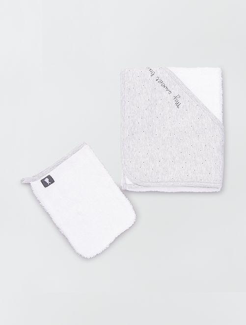 Cape de bain en éponge + gant de toilette                                                                             gris/blanc