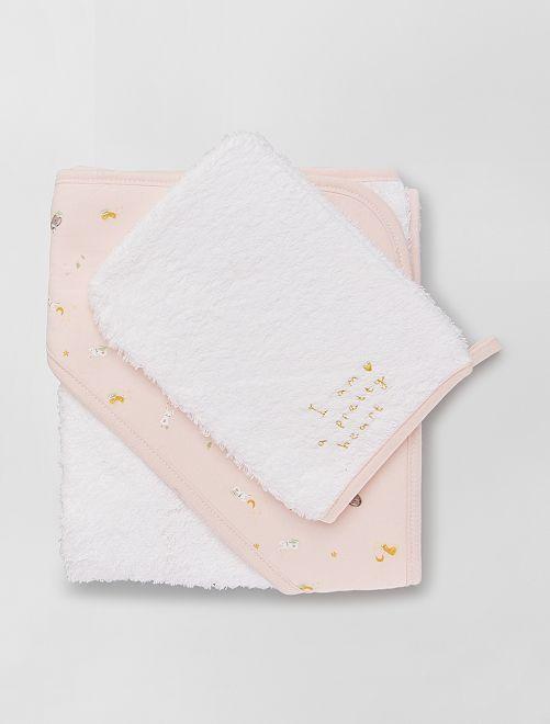 Cape de bain en éponge + gant de toilette                                                                 rose