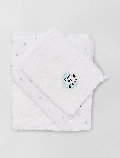 Cape de bain + gant de toilette à personnaliser                                                                 blanc