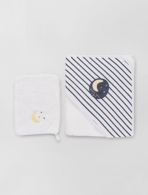 Cape de bain + gant de toilette                                                                 blanc/marine