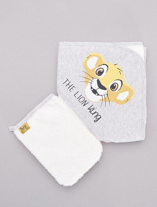 Cape de bain + gant de toilette 'Le Roi Lion'                             gris