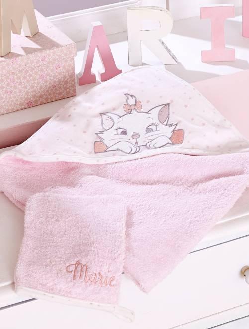 Cape de bain + gant en éponge 'Marie'                             rose pâle Bébé fille