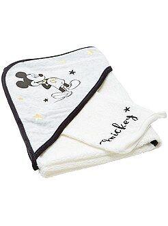 Chambre, bain - Cape de bain + gant en éponge 'Mickey'