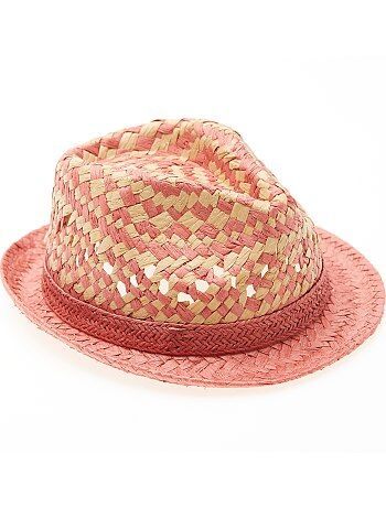 Chapeau de paille forme borsalino - Kiabi