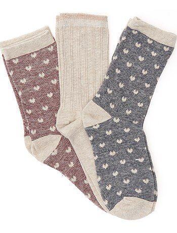Chaussettes fantaisies 'cœurs' - Kiabi