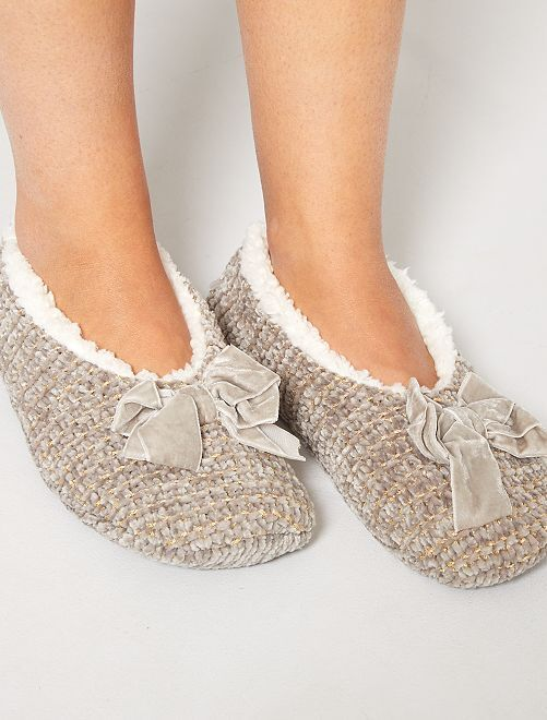 Chaussons ballerines en tricot                                         taupe